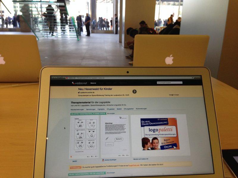 madoo.net, meine bekannteste Webseite hat sich auf die MacBooks im AppleStore Hamburg geschlichen.